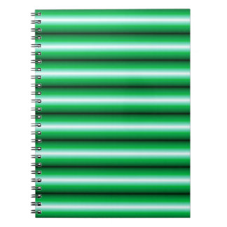 Green white Line pattern Spiral Note Books