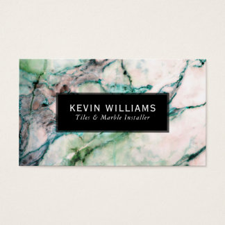 Green & White Marble Stone Texture Business Card
