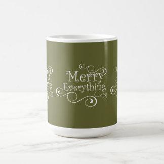 Green White Merry Everything Holiday Mug