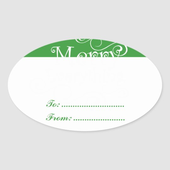 Green White Merry Everything Swirls Present Labels
