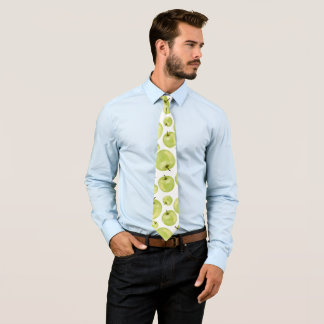 Green white mint apples watercolor fruits pattern neck tie