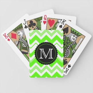 Green White Monogram Chevron Pattern Bicycle Playing Cards