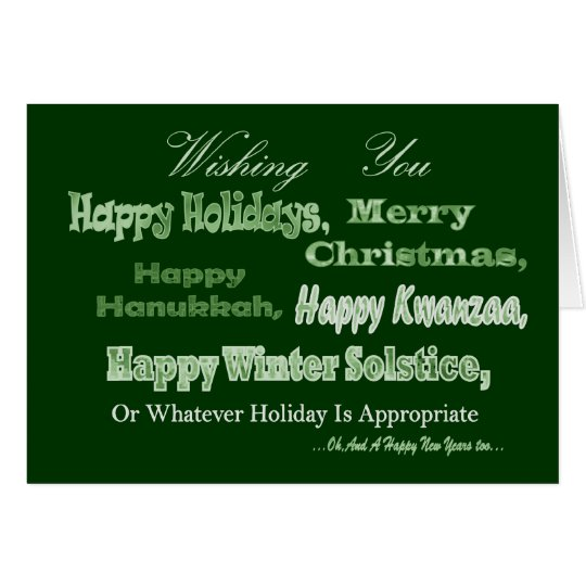 green white multi holiday card