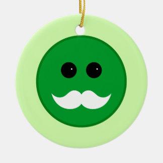Green White Mustache Smiley Emoticon Ceramic Ornament