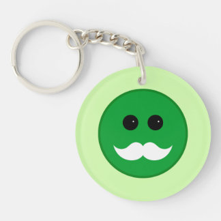Green White Mustache Smiley Emoticon Keychain