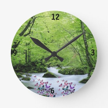merydesigns green white neture and butterflies round clock