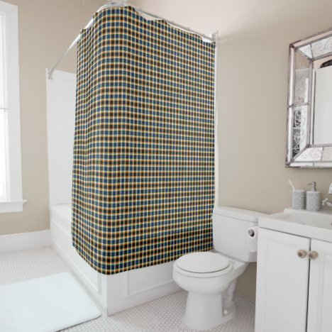 Green White Orange Blue Black Seamless Plaid Shower Curtain