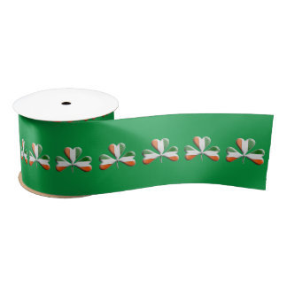 Green White Orange Irish Flag Colors Shamrock Satin Ribbon