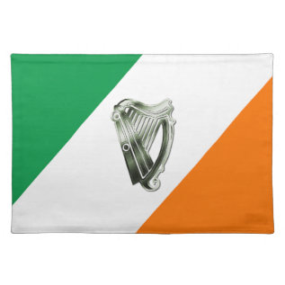 Green White Orange Stripes Irish Harp Cloth Placemat at Zazzle