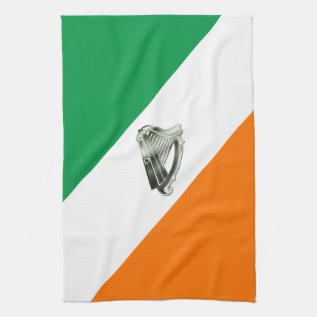Green White Orange Stripes Irish Harp Hand Towel at Zazzle