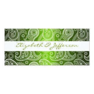 Green & White Paisley Lace Wedding Invitation