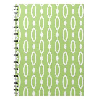 Green white pattern design spiral notebook
