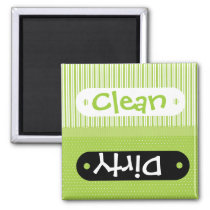 Green White Patterns Clean Dirty Dishwasher Magnet