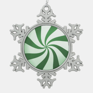 Green & White Peppermint Candy Snowflake Ornament