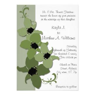 Green White Periwinkle Flower Flourish Wedding Card