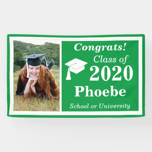 Green White Photo Class of 2020 Graduation Banner