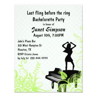"""Green & White Piano Bar Bachelorette Party 4.25"""" X 5.5"""" Invitation Card"""