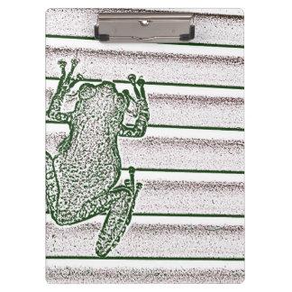green white pink frog design amphibian design clipboard