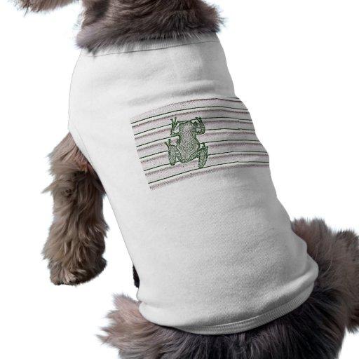green white pink frog design amphibian design dog tee shirt