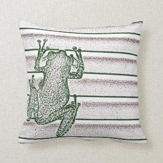 green white pink frog design amphibian design throw pillow