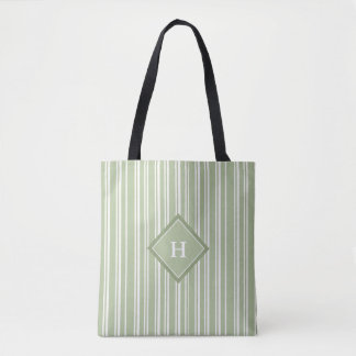 Green & White Pinstripes with Diamond for Initial Tote Bag