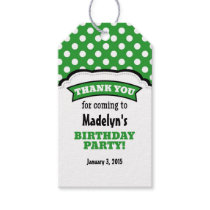 Green White Polka Dot Birthday Thank You Tags