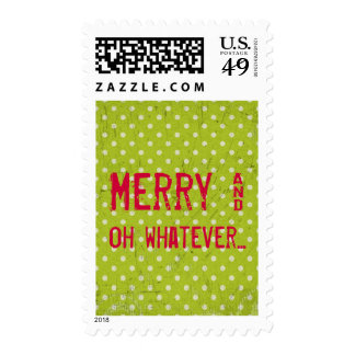 Green White Polka Dot Ironic Christmas Postage