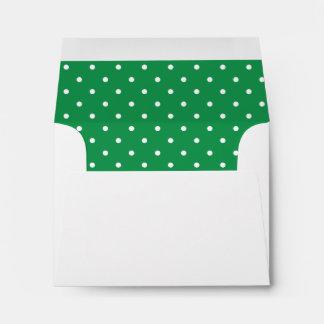 Green White Polka Dot Lined Envelope