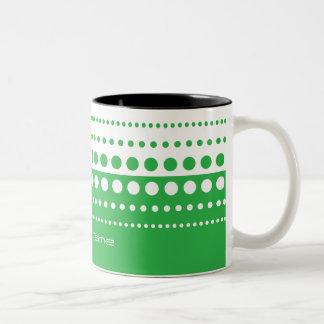 Green White Polka Dot Modern Pattern Two-Tone Coffee Mug