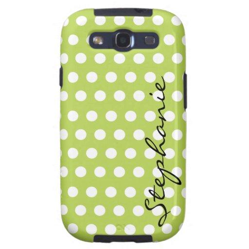 Green White Polka Dot Pattern Samsung Galaxy SIII Case