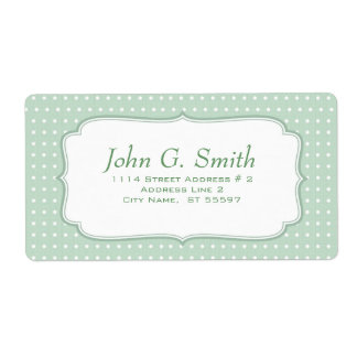 Green White Polka-Dot Pattern-Lable Template Shipping Label