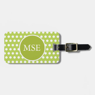 Green White Polka Dot Pattern Tag For Luggage