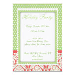 "Green White Polka Dot Red Damask Holiday Invites 4.5"" X 6.25"" Invitation Card"