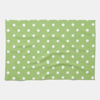 Green & White Polka Dot Tea Towel