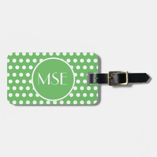 Green White Polka Dots Bags Luggage Tags