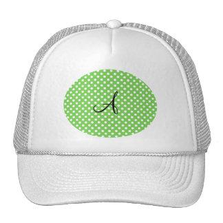 Green white polka dots monogram trucker hat