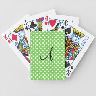 Green white polka dots monogram poker deck