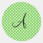 Green white polka dots monogram round sticker
