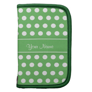 Green White Polka Dots Monogram Sleeves Organizer