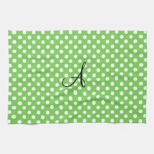 Green white polka dots monogram towels