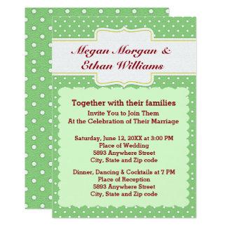 Green & White Polka Dots Wedding Invitation