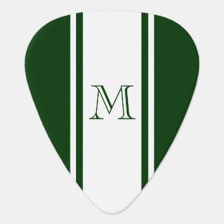 Green & White Racer Stripe Monogram Guitar Pick