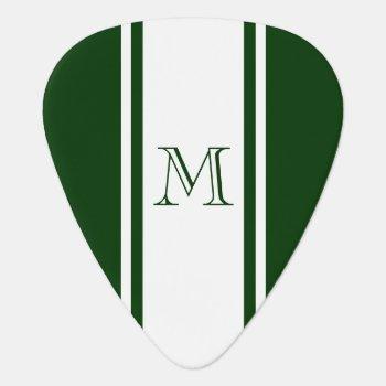 Green & White Racer Stripe Monogram Guitar Pick by EnduringMoments at Zazzle