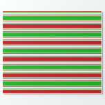 [ Thumbnail: Green, White, Red Christmas Inspired Lines Wrapping Paper ]