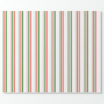[ Thumbnail: Green, White, Red Christmas-Inspired Lines Wrapping Paper ]