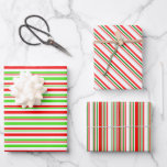[ Thumbnail: Green, White, Red Christmas-Inspired Lines Wrapping Paper Sheets ]