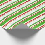 [ Thumbnail: Green, White, Red Christmas Inspired Pattern Wrapping Paper ]