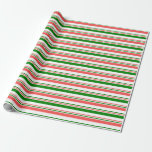 [ Thumbnail: Green, White, Red Christmas-Inspired Stripes Wrapping Paper ]