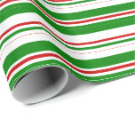 [ Thumbnail: Green, White, Red Christmas-Style Lines Pattern Wrapping Paper ]