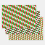 [ Thumbnail: Green, White, Red Christmas-Style Striped Patterns Wrapping Paper Sheets ]